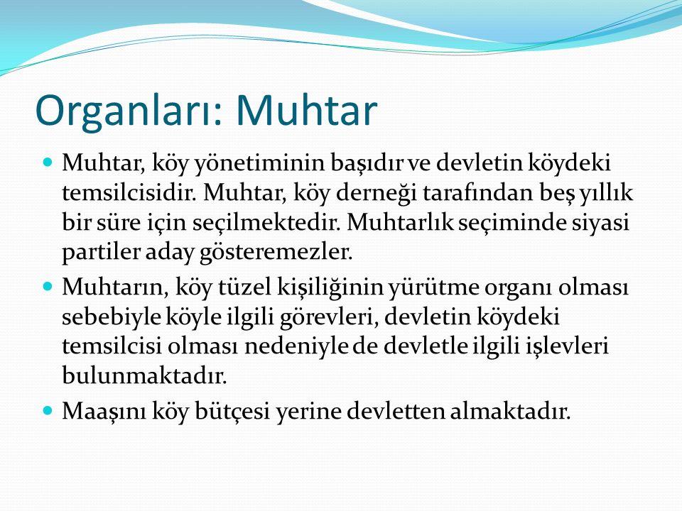 Organları: Muhtar Muhtar, köy yönetiminin başıdır ve devletin köydeki temsilcisidir. Muhtar, köy derneği tarafından beş yıllık bir süre için seçilmekt