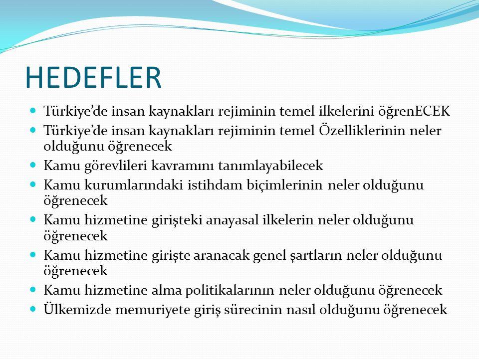 HEDEFLER Türkiye'de insan kaynakları rejiminin temel ilkelerini öğrenECEK Türkiye'de insan kaynakları rejiminin temel Özelliklerinin neler olduğunu öğ