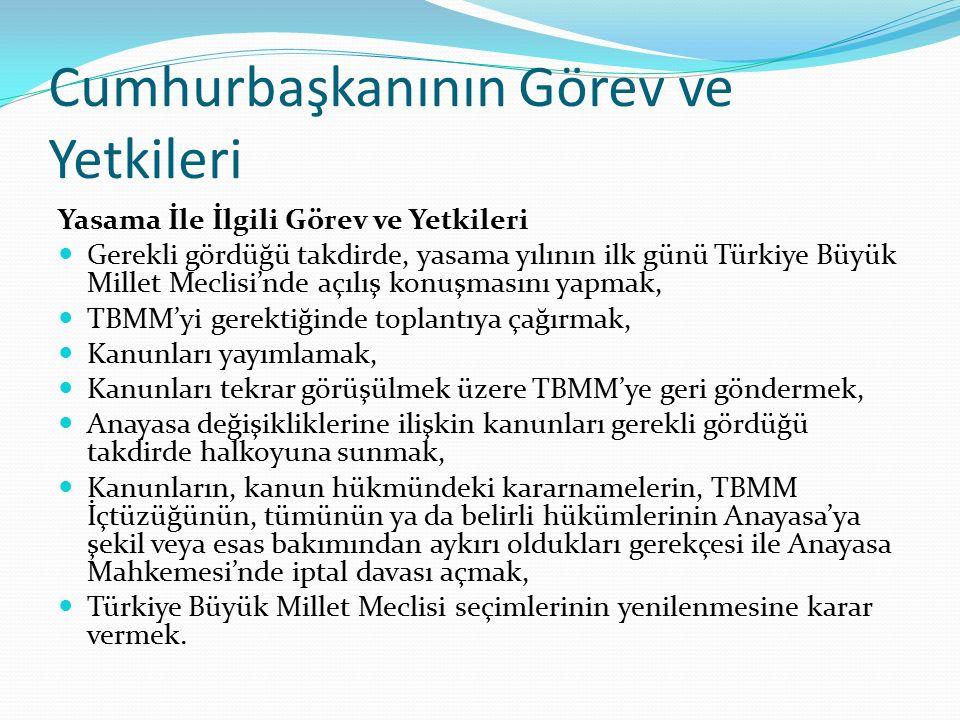 Cumhurbaşkanının Görev ve Yetkileri Yasama İle İlgili Görev ve Yetkileri Gerekli gördüğü takdirde, yasama yılının ilk günü Türkiye Büyük Millet Meclis