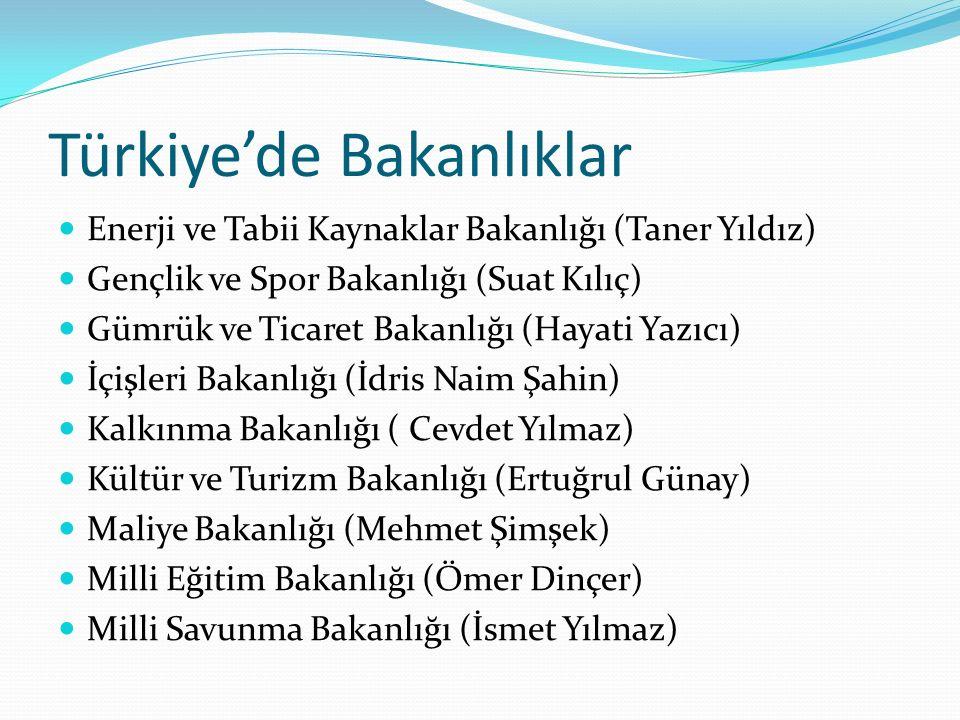 Türkiye'de Bakanlıklar Enerji ve Tabii Kaynaklar Bakanlığı (Taner Yıldız) Gençlik ve Spor Bakanlığı (Suat Kılıç) Gümrük ve Ticaret Bakanlığı (Hayati Y