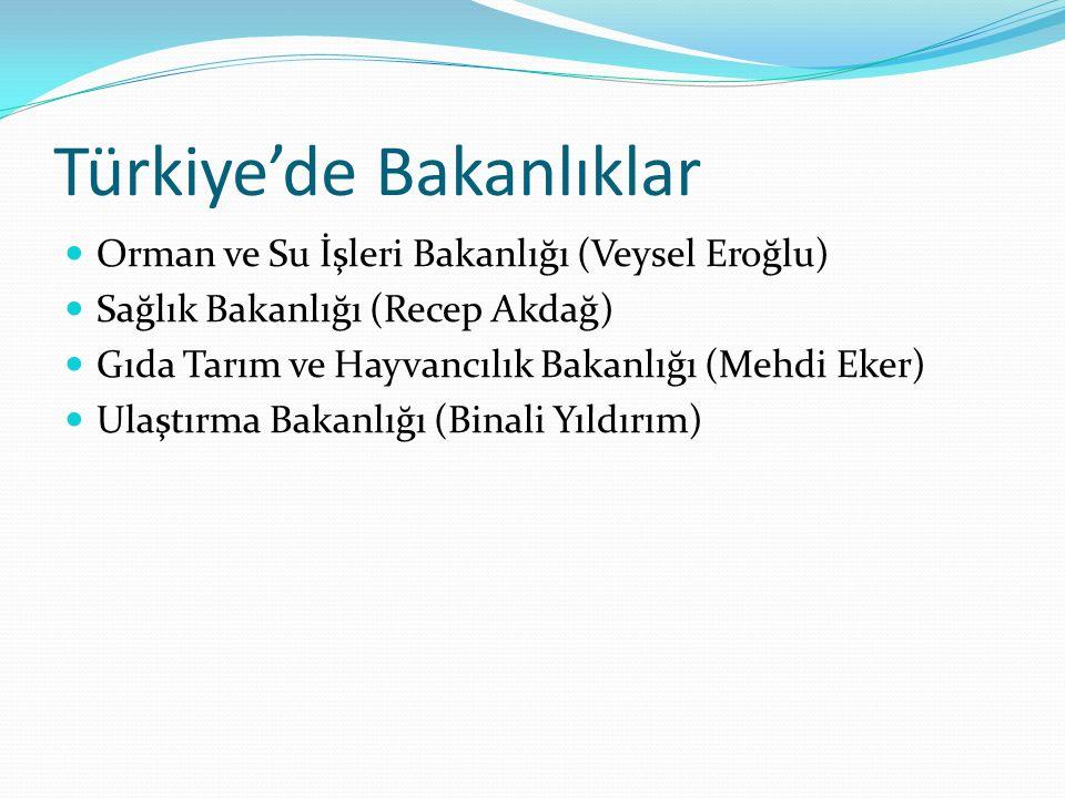 Türkiye'de Bakanlıklar Orman ve Su İşleri Bakanlığı (Veysel Eroğlu) Sağlık Bakanlığı (Recep Akdağ) Gıda Tarım ve Hayvancılık Bakanlığı (Mehdi Eker) Ul