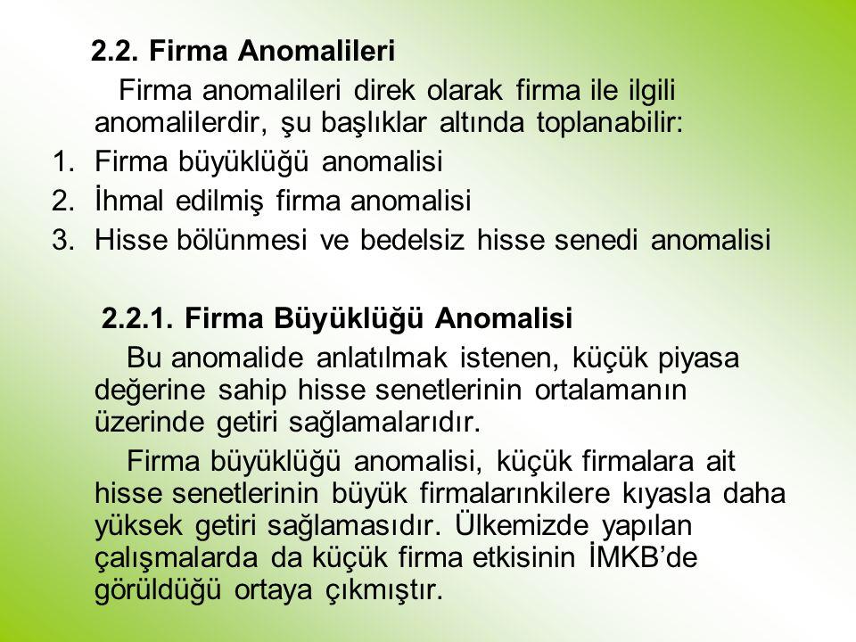 2.2. Firma Anomalileri Firma anomalileri direk olarak firma ile ilgili anomalilerdir, şu başlıklar altında toplanabilir: 1.Firma büyüklüğü anomalisi 2