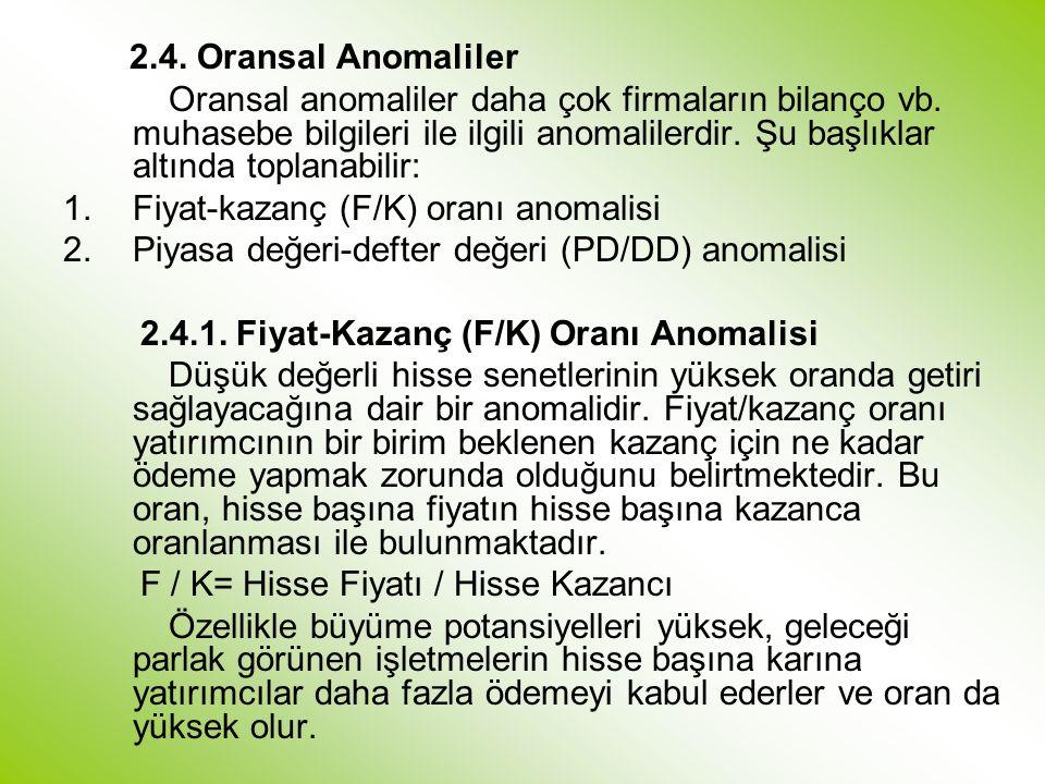 2.4.Oransal Anomaliler Oransal anomaliler daha çok firmaların bilanço vb.