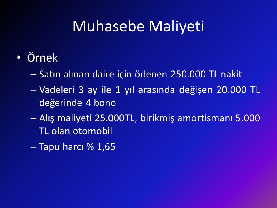 Muhasebe Maliyeti Örnek – Satın alınan daire için ödenen 250.000 TL nakit – Vadeleri 3 ay ile 1 yıl arasında değişen 20.000 TL değerinde 4 bono – Alış