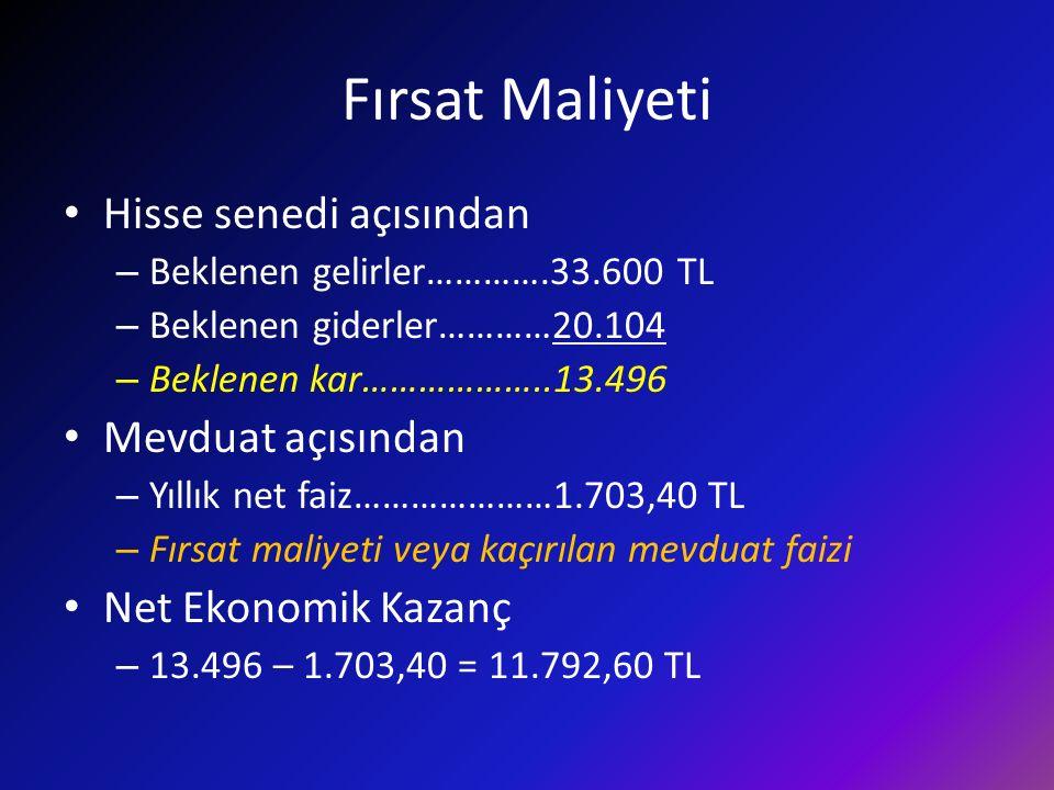Fırsat Maliyeti Hisse senedi açısından – Beklenen gelirler………….33.600 TL – Beklenen giderler…………20.104 – Beklenen kar………………..13.496 Mevduat açısından – Yıllık net faiz…………………1.703,40 TL – Fırsat maliyeti veya kaçırılan mevduat faizi Net Ekonomik Kazanç – 13.496 – 1.703,40 = 11.792,60 TL