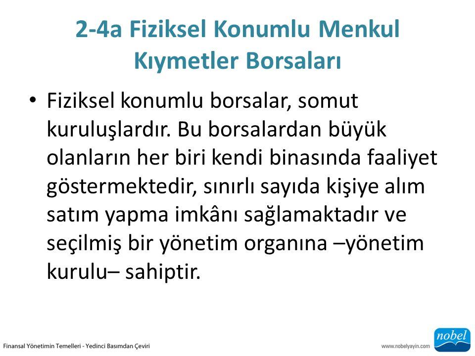 2-4a Fiziksel Konumlu Menkul Kıymetler Borsaları Fiziksel konumlu borsalar, somut kuruluşlardır.