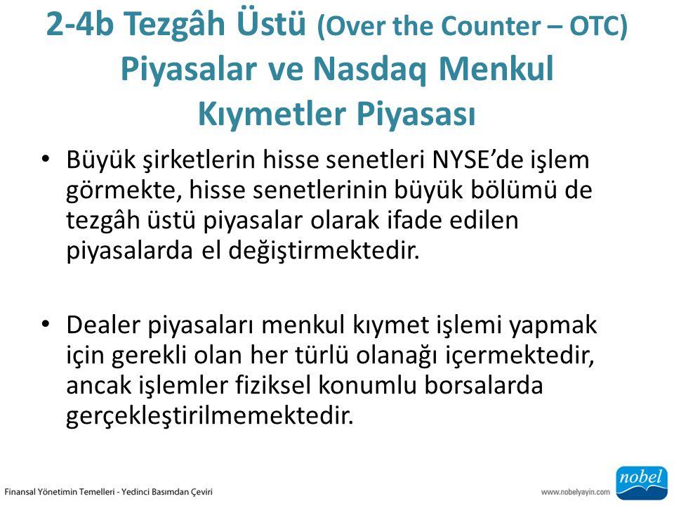 2-4b Tezgâh Üstü (Over the Counter – OTC) Piyasalar ve Nasdaq Menkul Kıymetler Piyasası Büyük şirketlerin hisse senetleri NYSE'de işlem görmekte, hiss