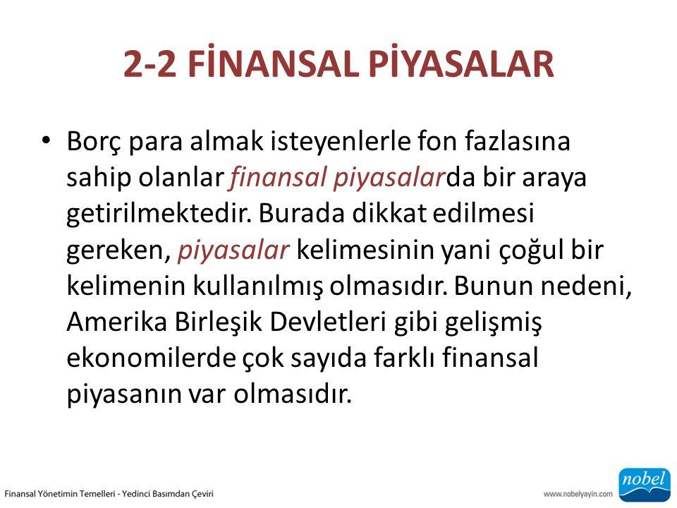 2-2 FİNANSAL PİYASALAR Borç para almak isteyenlerle fon fazlasına sahip olanlar finansal piyasalarda bir araya getirilmektedir. Burada dikkat edilmesi