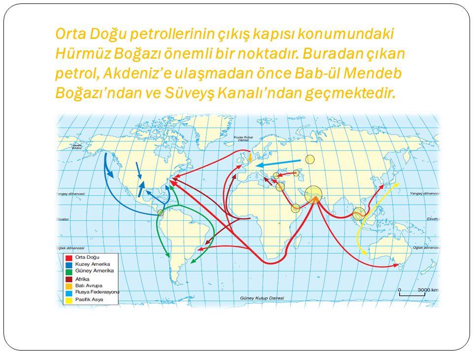 Orta Doğu petrollerinin çıkış kapısı konumundaki Hürmüz Boğazı önemli bir noktadır. Buradan çıkan petrol, Akdeniz'e ulaşmadan önce Bab-ül Mendeb Boğaz
