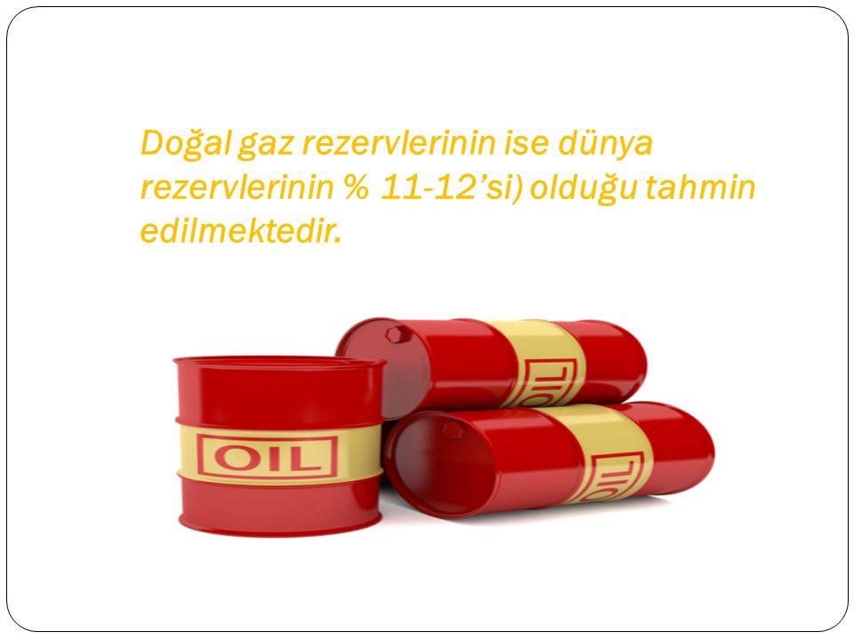Doğal gaz rezervlerinin ise dünya rezervlerinin % 11-12'si) olduğu tahmin edilmektedir.