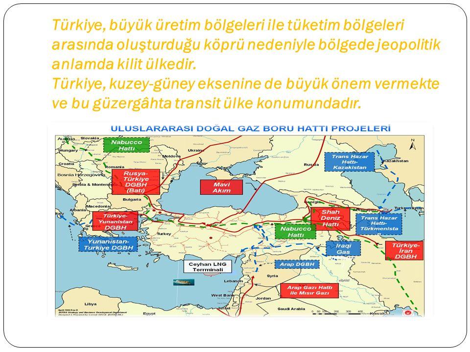Türkiye, büyük üretim bölgeleri ile tüketim bölgeleri arasında oluşturduğu köprü nedeniyle bölgede jeopolitik anlamda kilit ülkedir.