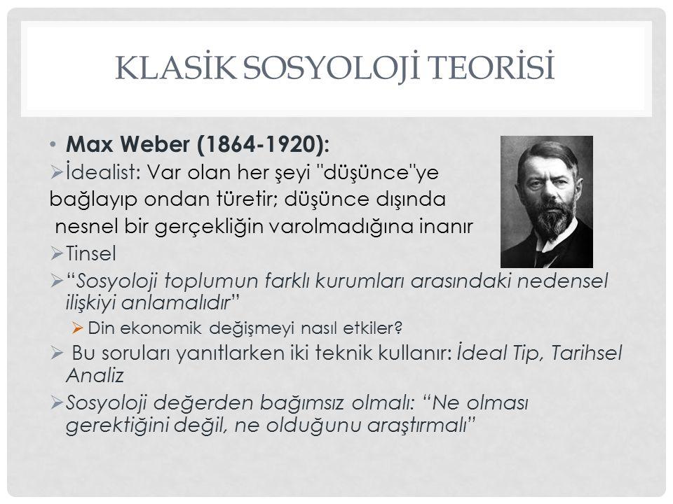 KLASİK SOSYOLOJİ TEORİSİ Max Weber (1864-1920):  İdealist: Var olan her şeyi
