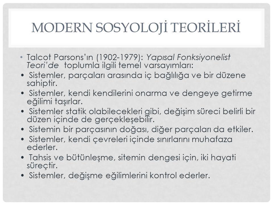 MODERN SOSYOLOJİ TEORİLERİ Talcot Parsons'ın (1902-1979): Yapısal Fonksiyonelist Teori'de toplumla ilgili temel varsayımları: Sistemler, parçaları ara