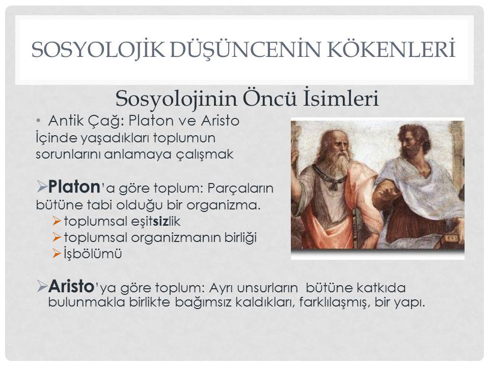 SOSYOLOJİK DÜŞÜNCENİN KÖKENLERİ  İbni Haldun (1332-1406): Mukaddime *, tarihsel olgularla toplumsal yaşam biçimleri arasındaki ilişkiden yola çıkarak devletin kaynağı, işlevi ve gelişimi üzerine kuramsal görüşler Asabiye (toplumsal bağlılık duygusu)*  Giambattista Vico (1668-1744): Yeni Bilim Tarih, insanların eseridir. İnsan sadece kendi yaratmış olduğu şeyleri bilebilir Kartesyen felsefeye karşıdır:Doğruluğu, kesinliği, etkinlikte, insan varlıkları tarafından yaratılmış, gerçekleştirilmiş olanda aramıştır.