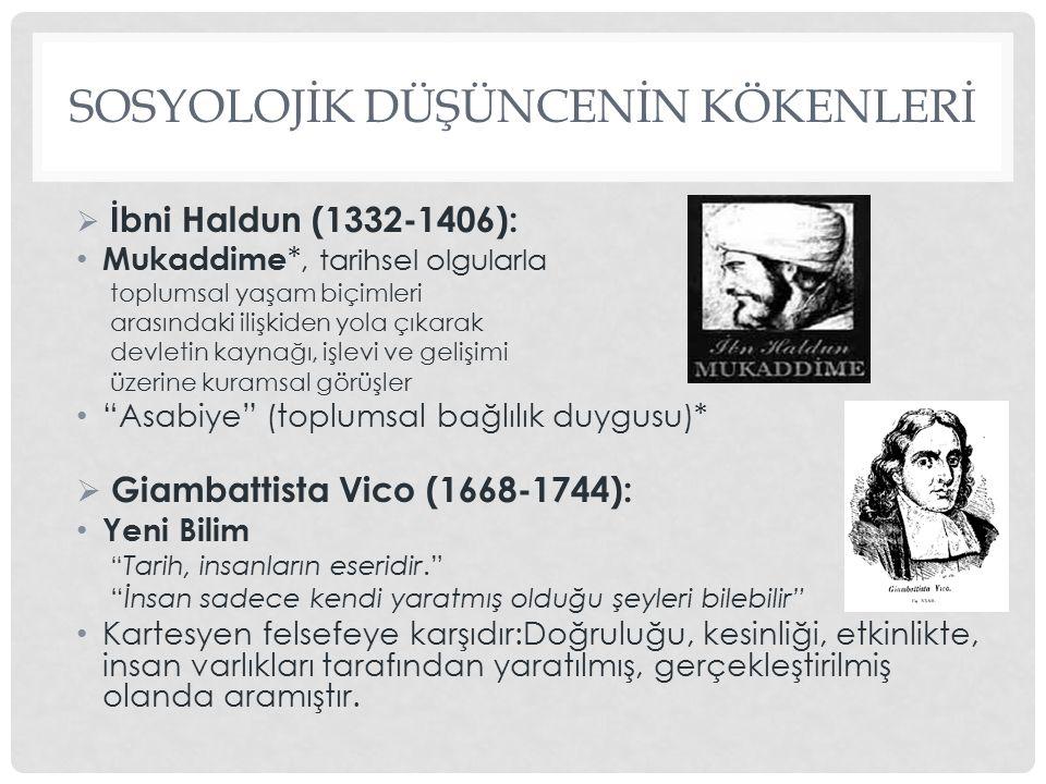SOSYOLOJİK DÜŞÜNCENİN KÖKENLERİ  İbni Haldun (1332-1406): Mukaddime *, tarihsel olgularla toplumsal yaşam biçimleri arasındaki ilişkiden yola çıkarak