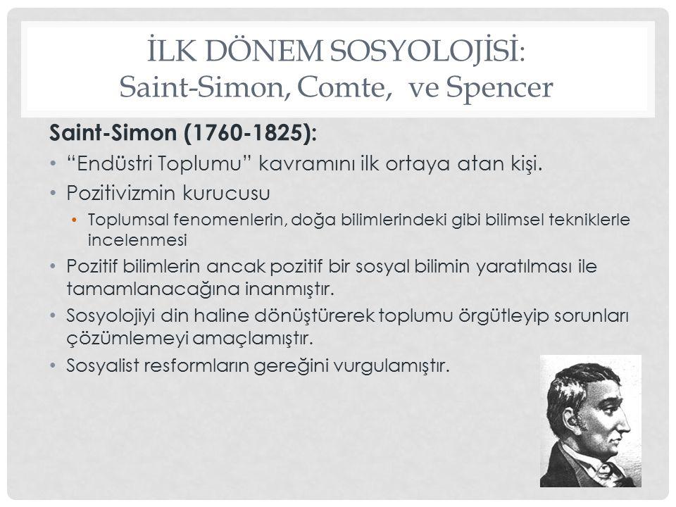 İLK DÖNEM SOSYOLOJİSİ Auguste Comte (1798-1857)  Sosyolojinin kurucusu  Sosyoloji: Pozitif bir bilim , Toplum mühendisliği  Sosyoloji doğa bilimlerinin yöntemlerini uygulamalı  Sosyoloji'yi odak noktasına göre ikiye ayırır: 1.