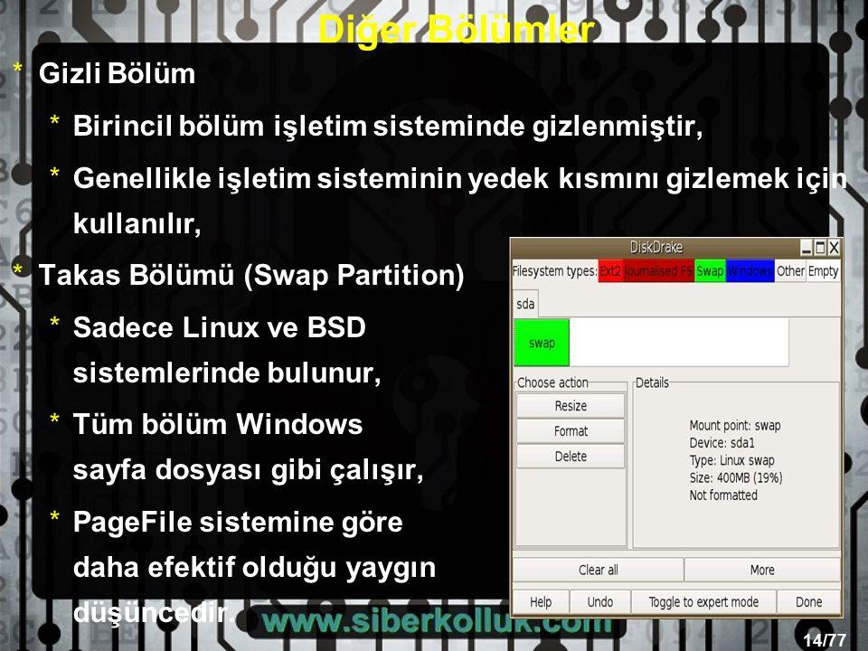 14/77 Diğer Bölümler *Gizli Bölüm *Birincil bölüm işletim sisteminde gizlenmiştir, *Genellikle işletim sisteminin yedek kısmını gizlemek için kullanılır, *Takas Bölümü (Swap Partition) *Sadece Linux ve BSD sistemlerinde bulunur, *Tüm bölüm Windows sayfa dosyası gibi çalışır, *PageFile sistemine göre daha efektif olduğu yaygın düşüncedir.