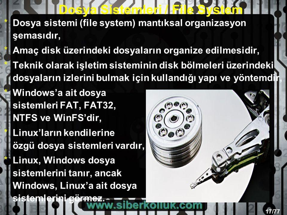 17/77 *Dosya sistemi (file system) mantıksal organizasyon şemasıdır, *Amaç disk üzerindeki dosyaların organize edilmesidir, *Teknik olarak işletim sisteminin disk bölmeleri üzerindeki dosyaların izlerini bulmak için kullandığı yapı ve yöntemdir, *Windows'a ait dosya sistemleri FAT, FAT32, NTFS ve WinFS'dir, *Linux'ların kendilerine özgü dosya sistemleri vardır, *Linux, Windows dosya sistemlerini tanır, ancak Windows, Linux'a ait dosya sistemlerini görmez.