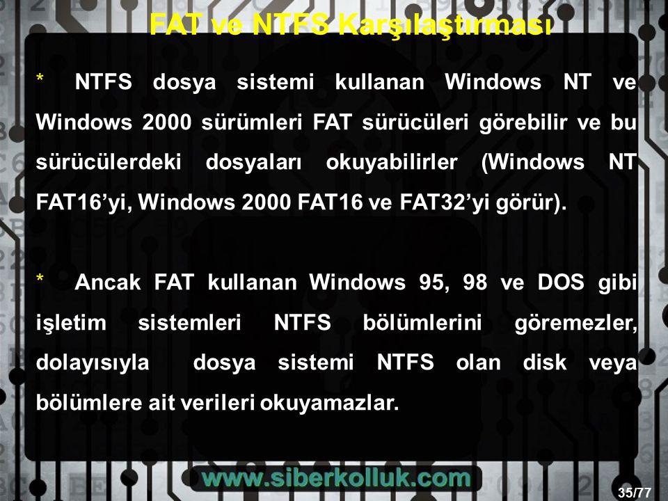 35/77 * NTFS dosya sistemi kullanan Windows NT ve Windows 2000 sürümleri FAT sürücüleri görebilir ve bu sürücülerdeki dosyaları okuyabilirler (Windows NT FAT16'yi, Windows 2000 FAT16 ve FAT32'yi görür).
