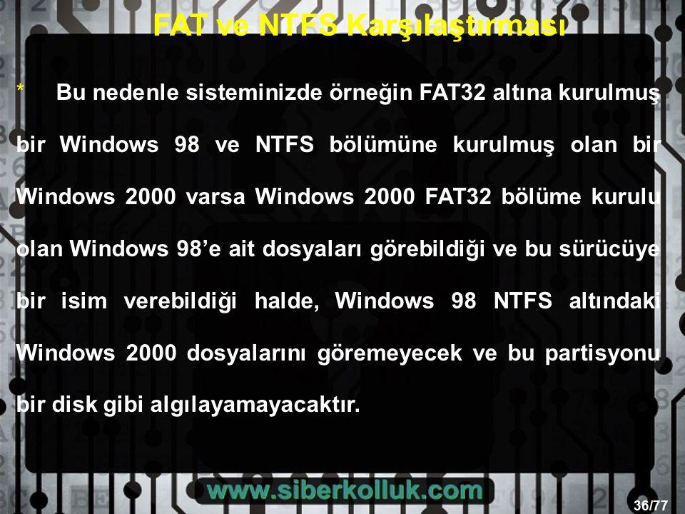 36/77 *Bu nedenle sisteminizde örneğin FAT32 altına kurulmuş bir Windows 98 ve NTFS bölümüne kurulmuş olan bir Windows 2000 varsa Windows 2000 FAT32 bölüme kurulu olan Windows 98'e ait dosyaları görebildiği ve bu sürücüye bir isim verebildiği halde, Windows 98 NTFS altındaki Windows 2000 dosyalarını göremeyecek ve bu partisyonu bir disk gibi algılayamayacaktır.