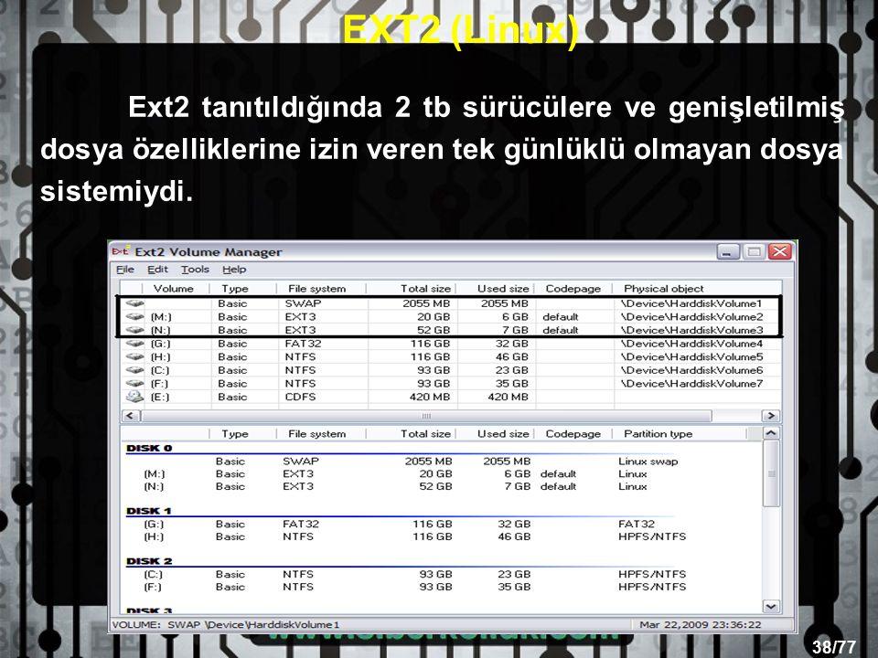 38/77 Ext2 tanıtıldığında 2 tb sürücülere ve genişletilmiş dosya özelliklerine izin veren tek günlüklü olmayan dosya sistemiydi.