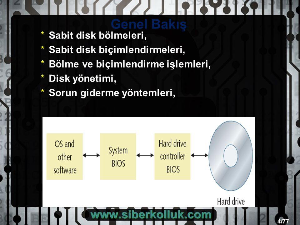 4/77 Genel Bakış *Sabit disk bölmeleri, *Sabit disk biçimlendirmeleri, *Bölme ve biçimlendirme işlemleri, *Disk yönetimi, *Sorun giderme yöntemleri,