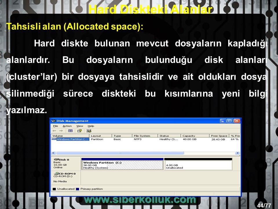 44/77 Tahsisli alan (Allocated space): Hard diskte bulunan mevcut dosyaların kapladığı alanlardır.