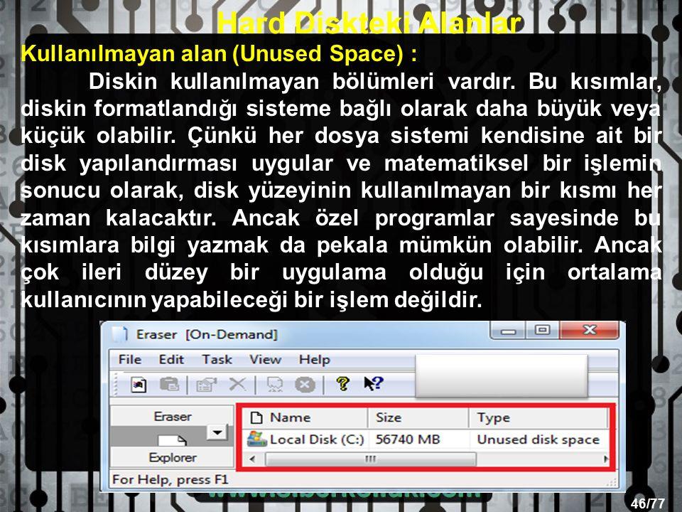 46/77 Kullanılmayan alan (Unused Space) : Diskin kullanılmayan bölümleri vardır.