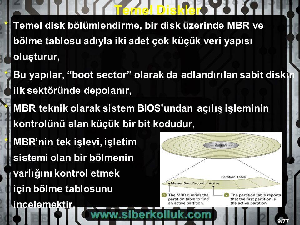 9/77 Temel Diskler *Temel disk bölümlendirme, bir disk üzerinde MBR ve bölme tablosu adıyla iki adet çok küçük veri yapısı oluşturur, *Bu yapılar, boot sector olarak da adlandırılan sabit diskin ilk sektöründe depolanır, *MBR teknik olarak sistem BIOS'undan açılış işleminin kontrolünü alan küçük bir bit kodudur, *MBR'nin tek işlevi, işletim sistemi olan bir bölmenin varlığını kontrol etmek için bölme tablosunu incelemektir.