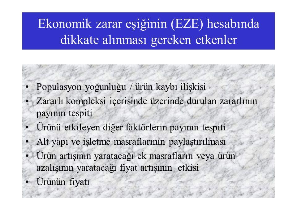 Ekonomik zarar eşiğinin (EZE) hesabında dikkate alınması gereken etkenler Populasyon yoğunluğu / ürün kaybı ilişkisi Zararlı kompleksi içerisinde üzer