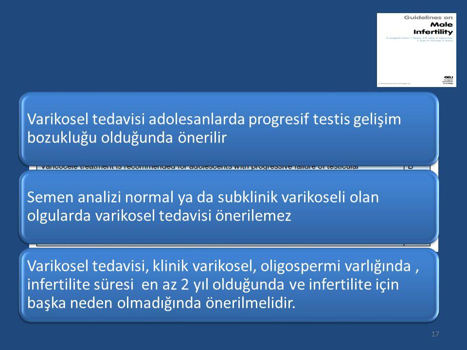 Varikosel tedavisi adolesanlarda progresif testis gelişim bozukluğu olduğunda önerilir Semen analizi normal ya da subklinik varikoseli olan olgularda varikosel tedavisi önerilemez Varikosel tedavisi, klinik varikosel, oligospermi varlığında, infertilite süresi en az 2 yıl olduğunda ve infertilite için başka neden olmadığında önerilmelidir.