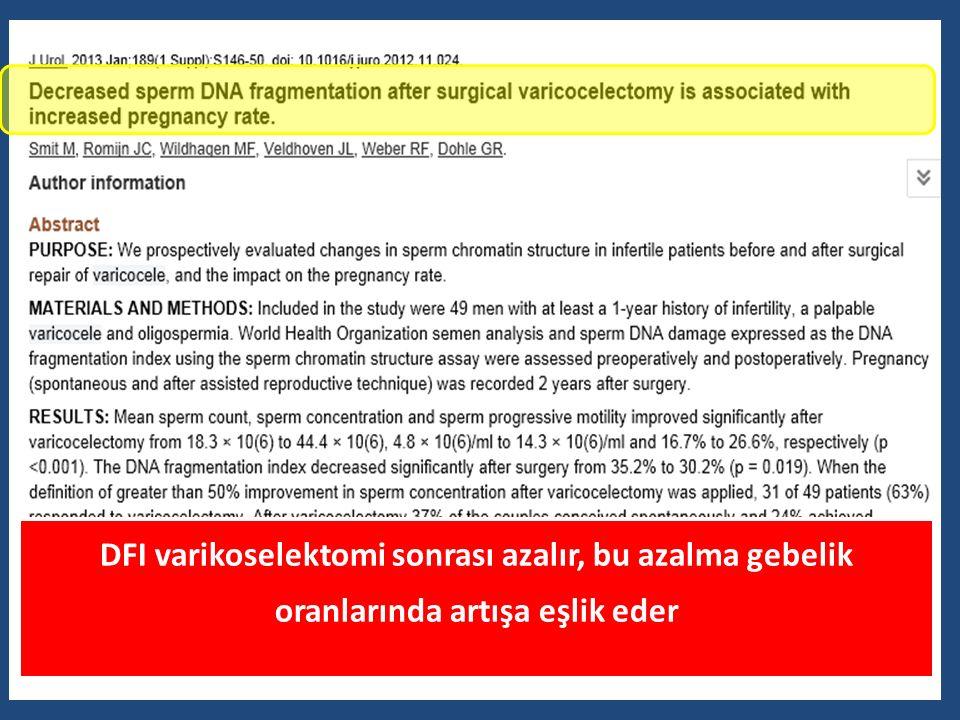 DFI varikoselektomi sonrası azalır, bu azalma gebelik oranlarında artışa eşlik eder