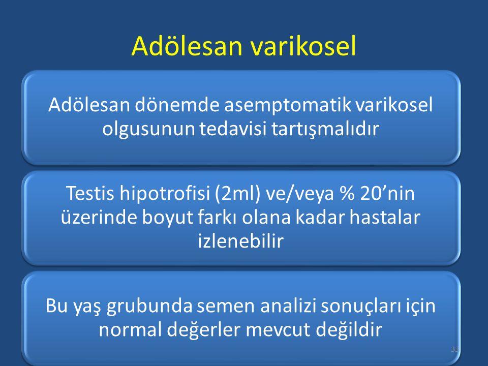 Adölesan varikosel Adölesan dönemde asemptomatik varikosel olgusunun tedavisi tartışmalıdır Testis hipotrofisi (2ml) ve/veya % 20'nin üzerinde boyut farkı olana kadar hastalar izlenebilir Bu yaş grubunda semen analizi sonuçları için normal değerler mevcut değildir 33