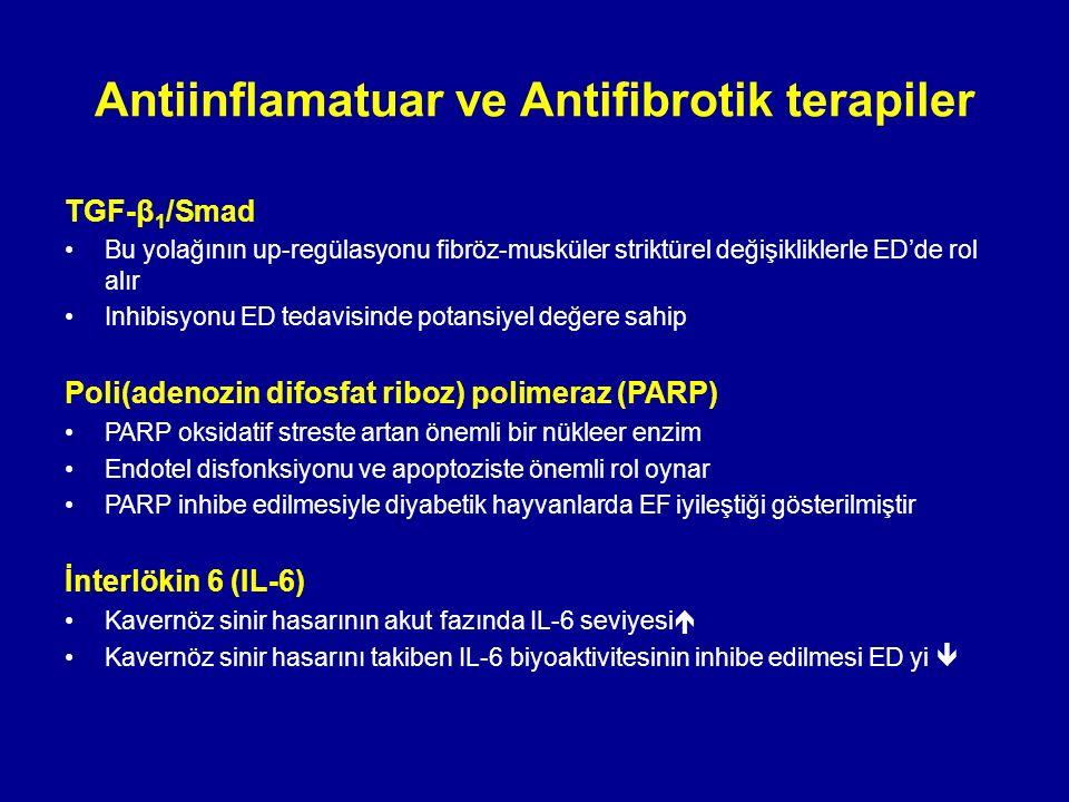TGF-β 1 /Smad Bu yolağının up-regülasyonu fibröz-musküler striktürel değişikliklerle ED'de rol alır Inhibisyonu ED tedavisinde potansiyel değere sahip Poli(adenozin difosfat riboz) polimeraz (PARP) PARP oksidatif streste artan önemli bir nükleer enzim Endotel disfonksiyonu ve apoptoziste önemli rol oynar PARP inhibe edilmesiyle diyabetik hayvanlarda EF iyileştiği gösterilmiştir İnterlökin 6 (IL-6) Kavernöz sinir hasarının akut fazında IL-6 seviyesi  Kavernöz sinir hasarını takiben IL-6 biyoaktivitesinin inhibe edilmesi ED yi  Antiinflamatuar ve Antifibrotik terapiler