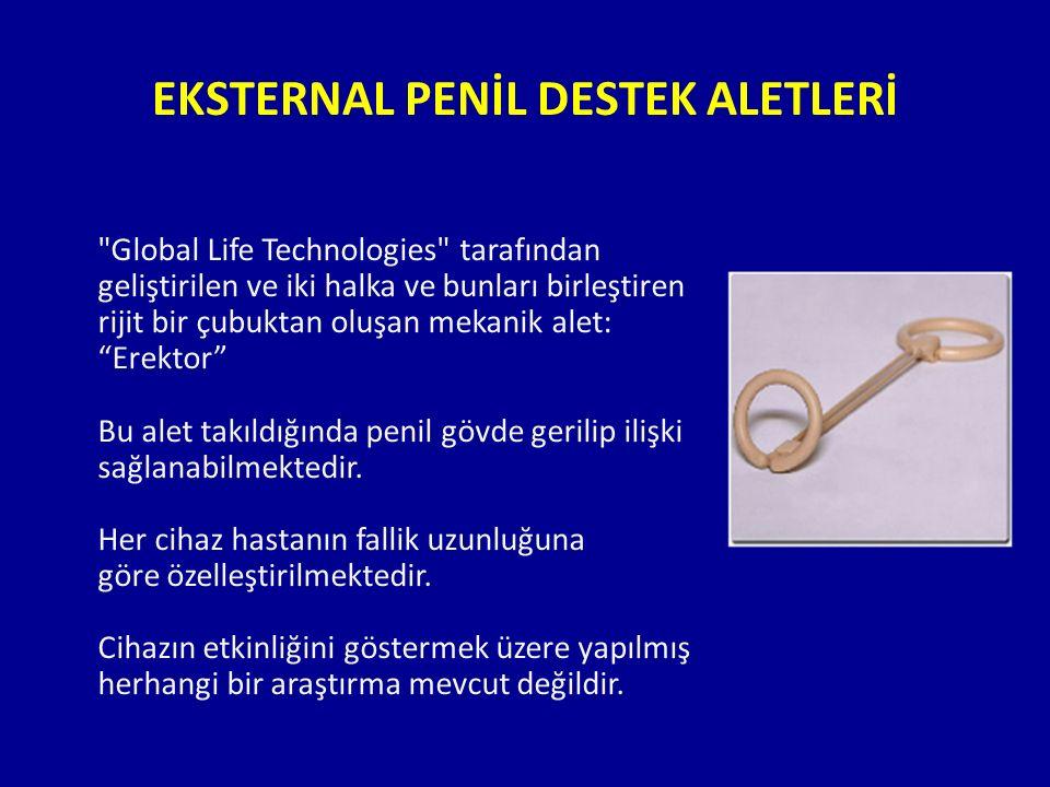EKSTERNAL PENİL DESTEK ALETLERİ Global Life Technologies tarafından geliştirilen ve iki halka ve bunları birleştiren rijit bir çubuktan oluşan mekanik alet: Erektor Bu alet takıldığında penil gövde gerilip ilişki sağlanabilmektedir.