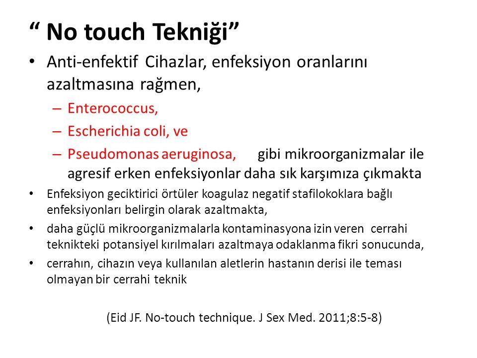 No touch Tekniği Anti-enfektif Cihazlar, enfeksiyon oranlarını azaltmasına rağmen, – Enterococcus, – Escherichia coli, ve – Pseudomonas aeruginosa, gibi mikroorganizmalar ile agresif erken enfeksiyonlar daha sık karşımıza çıkmakta Enfeksiyon geciktirici örtüler koagulaz negatif stafilokoklara bağlı enfeksiyonları belirgin olarak azaltmakta, daha güçlü mikroorganizmalarla kontaminasyona izin veren cerrahi teknikteki potansiyel kırılmaları azaltmaya odaklanma fikri sonucunda, cerrahın, cihazın veya kullanılan aletlerin hastanın derisi ile teması olmayan bir cerrahi teknik (Eid JF.