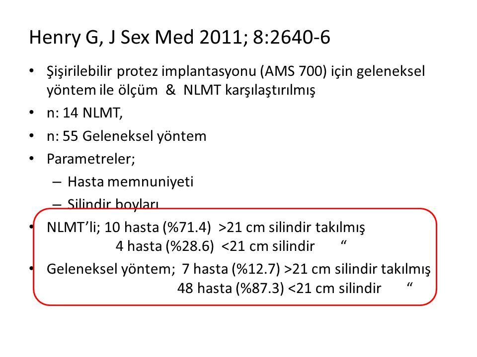 Henry G, J Sex Med 2011; 8:2640-6 Şişirilebilir protez implantasyonu (AMS 700) için geleneksel yöntem ile ölçüm & NLMT karşılaştırılmış n: 14 NLMT, n: 55 Geleneksel yöntem Parametreler; – Hasta memnuniyeti – Silindir boyları NLMT'li; 10 hasta (%71.4) >21 cm silindir takılmış 4 hasta (%28.6) <21 cm silindir Geleneksel yöntem; 7 hasta (%12.7) >21 cm silindir takılmış 48 hasta (%87.3) <21 cm silindir