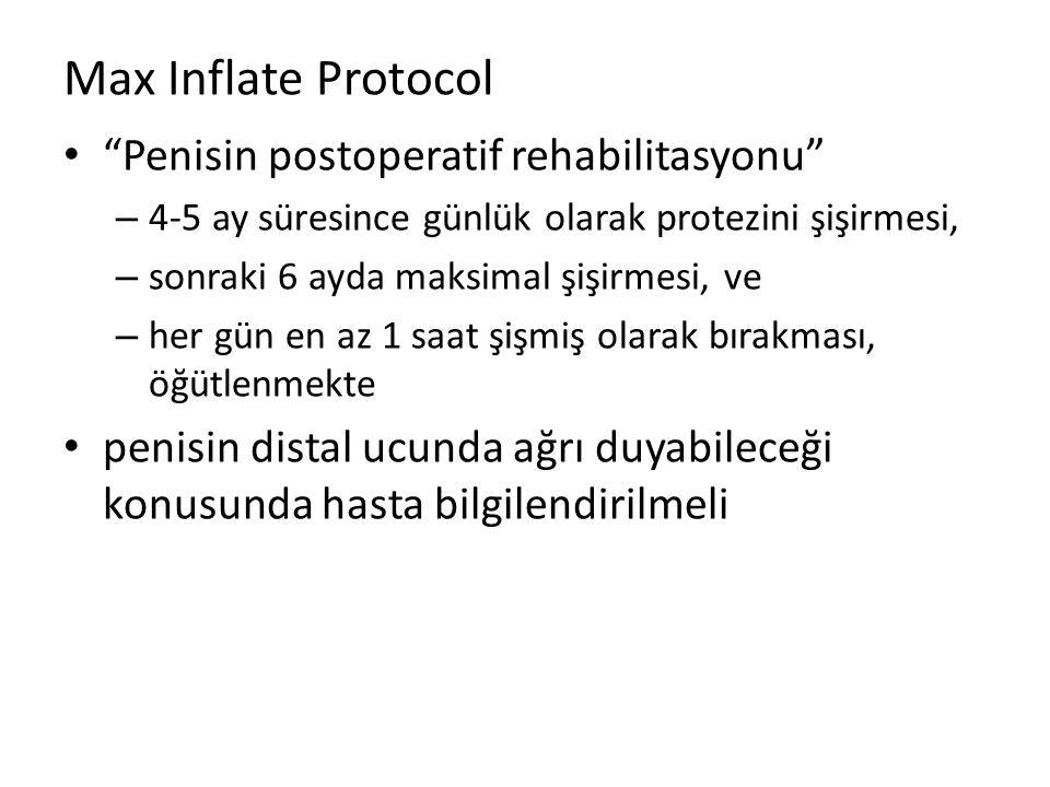 Max Inflate Protocol Penisin postoperatif rehabilitasyonu – 4-5 ay süresince günlük olarak protezini şişirmesi, – sonraki 6 ayda maksimal şişirmesi, ve – her gün en az 1 saat şişmiş olarak bırakması, öğütlenmekte penisin distal ucunda ağrı duyabileceği konusunda hasta bilgilendirilmeli