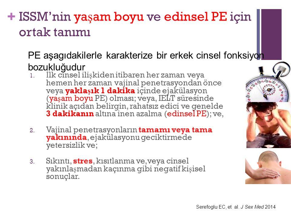 + ISSM'nin ya ş am boyu ve edinsel PE için ortak tanımı 1.