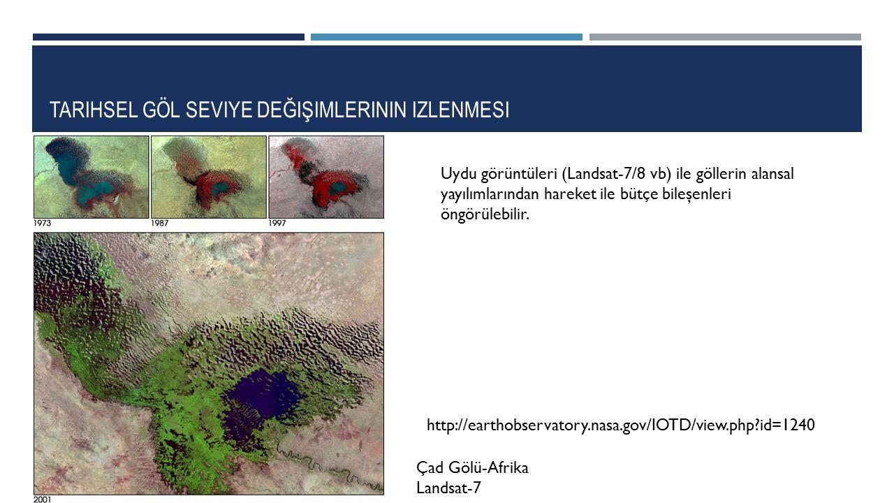 TARIHSEL GÖL SEVIYE DEĞIŞIMLERININ IZLENMESI Çad Gölü-Afrika Landsat-7 http://earthobservatory.nasa.gov/IOTD/view.php?id=1240 Uydu görüntüleri (Landsa