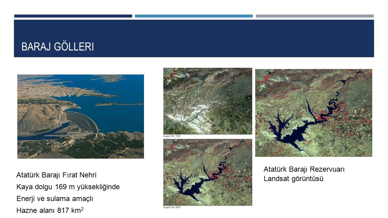 BARAJ GÖLLERI Atatürk Barajı Fırat Nehri Kaya dolgu 169 m yüksekliğinde Enerji ve sulama amaçlı Hazne alanı 817 km 2 Atatürk Barajı Rezervuarı Landsat