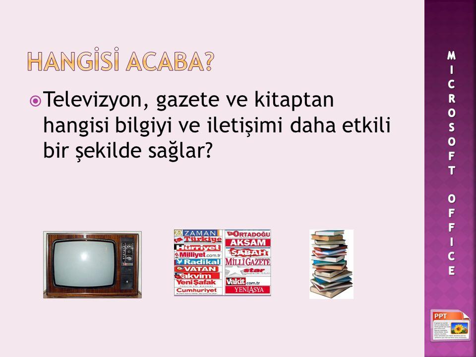  Televizyon, gazete ve kitaptan hangisi bilgiyi ve iletişimi daha etkili bir şekilde sağlar?