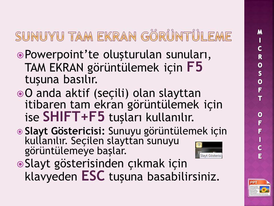  Powerpoint'te oluşturulan sunuları, TAM EKRAN görüntülemek için F5 tuşuna basılır.