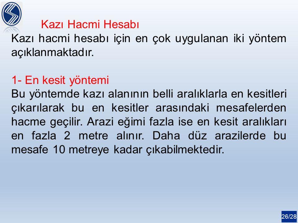 26/28 Kazı Hacmi Hesabı Kazı hacmi hesabı için en çok uygulanan iki yöntem açıklanmaktadır.