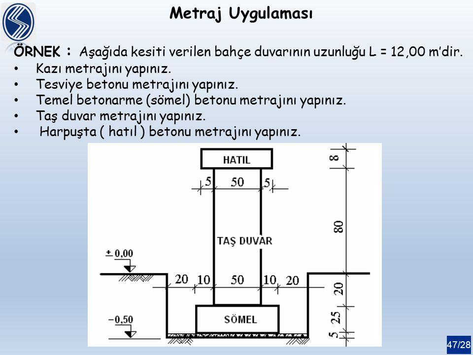 47/28 Metraj Uygulaması ÖRNEK : Aşağıda kesiti verilen bahçe duvarının uzunluğu L = 12,00 m'dir. Kazı metrajını yapınız. Tesviye betonu metrajını yapı