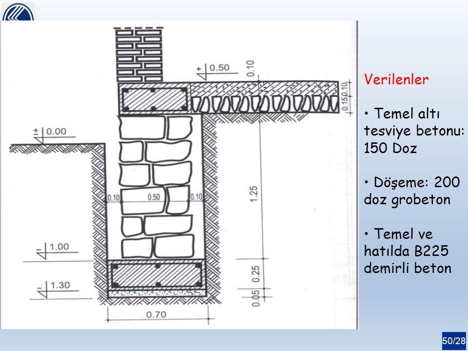 50/28 Verilenler Temel altı tesviye betonu: 150 Doz Döşeme: 200 doz grobeton Temel ve hatılda B225 demirli beton