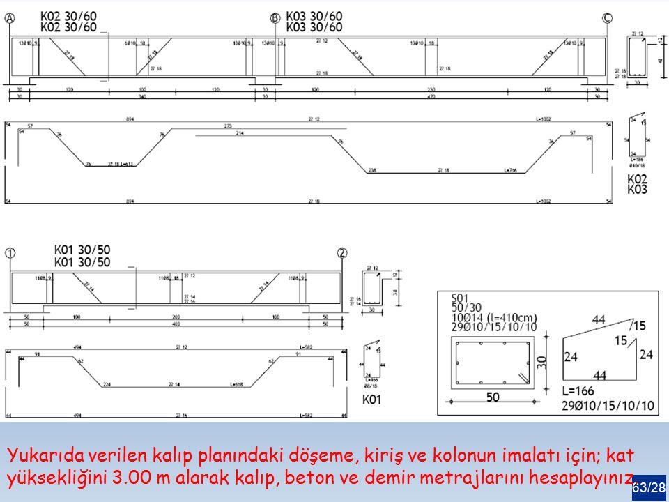 63/28 Yukarıda verilen kalıp planındaki döşeme, kiriş ve kolonun imalatı için; kat yüksekliğini 3.00 m alarak kalıp, beton ve demir metrajlarını hesap