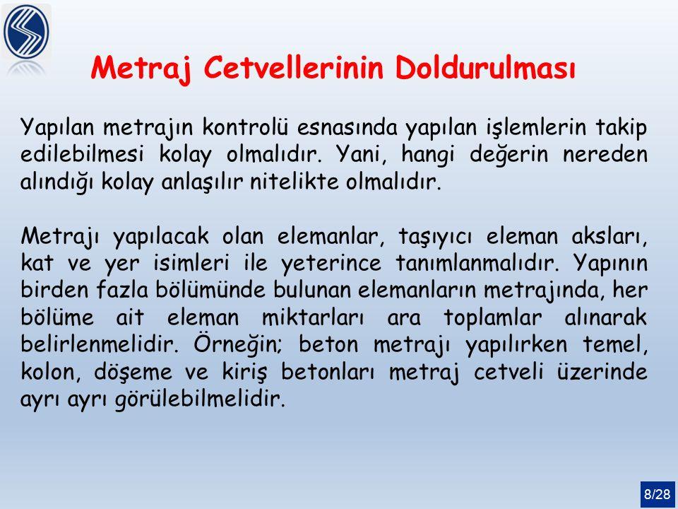 8/28 Metraj Cetvellerinin Doldurulması Yapılan metrajın kontrolü esnasında yapılan işlemlerin takip edilebilmesi kolay olmalıdır. Yani, hangi değerin