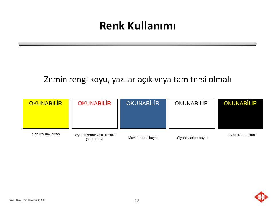 12 Renk Kullanımı Zemin rengi koyu, yazılar açık veya tam tersi olmalı OKUNABİLİR Sarı üzerine siyah Beyaz üzerine yeşil, kırmızı ya da mavi Mavi üzerine beyazSiyah üzerine beyaz Siyah üzerine sarı