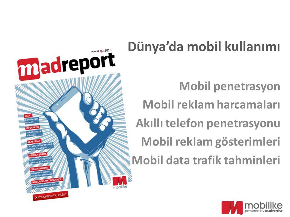 Dünya'da mobil kullanımı Mobil penetrasyon Mobil reklam harcamaları Akıllı telefon penetrasyonu Mobil reklam gösterimleri Mobil data trafik tahminleri